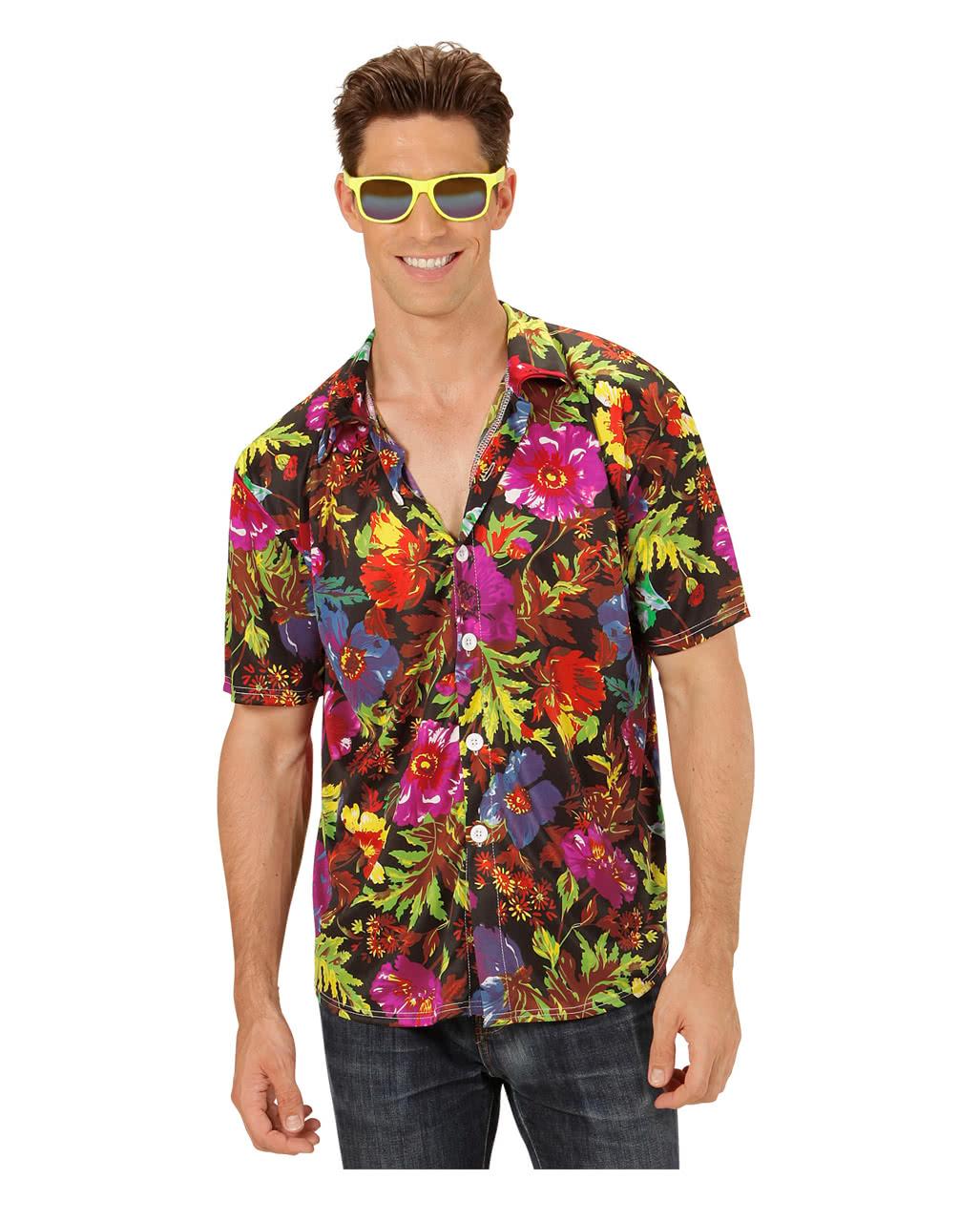 Hawaiian shirt black ml carnival fancy dress theme party for Hawaiian shirt fancy dress