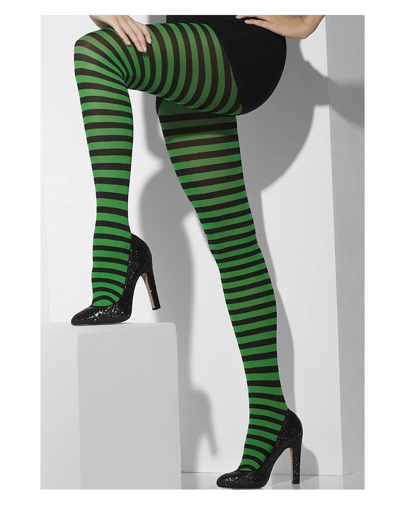 gestreifte strumpfhose schwarz-grün | punk strumpfhose | horror, Wohnzimmer dekoo