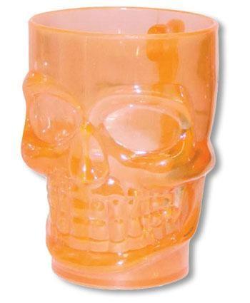 Orange transparenter Totenschädel Krug