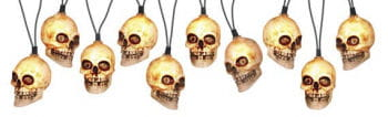 Skull Fairy Lights White with Sound