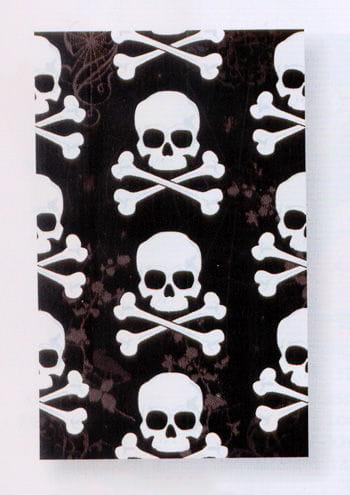 Schwarze Tischdecke mit Totenköpfen