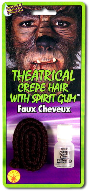 Theater hair dark brown with skin adhesive