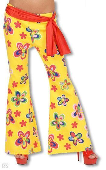 Gelbe Hippie Schlaghose mit Blumen