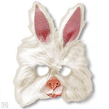 Kindermaske Hase mit Plüsch