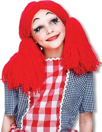Rag Doll Child Wig Red | horror-shop.com