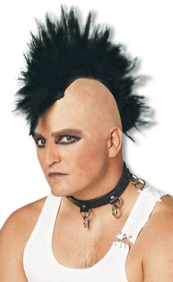 Mohawk Punk Perücke schwarz