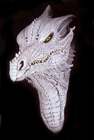 Albino Fantasy Drachenmaske