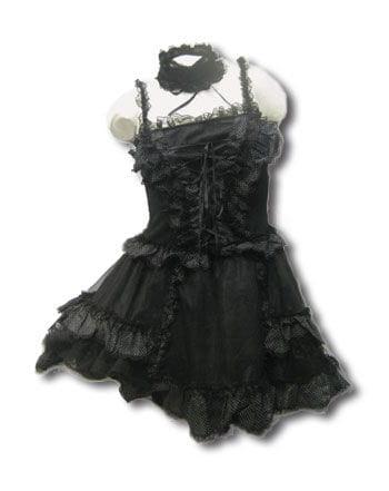 Schwarzes Minikleid mit weißen Punkten Gr. M/L