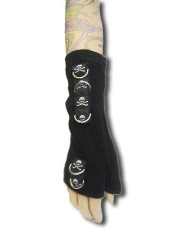 Totenkopf Handschuhe schwarz D-Ring
