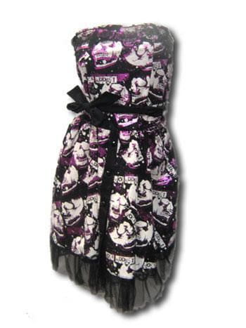 Skull Foil Dress Black Pink ML
