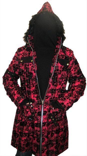 Flocked Plaid Coat XL