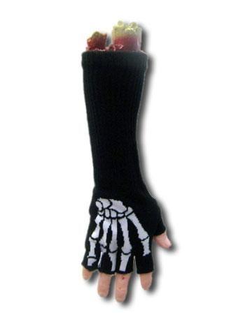 Long fingerless gloves skeleton