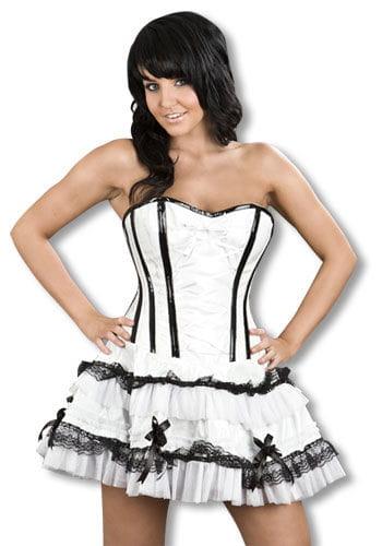 Lack Minikleid schwarz weiß L