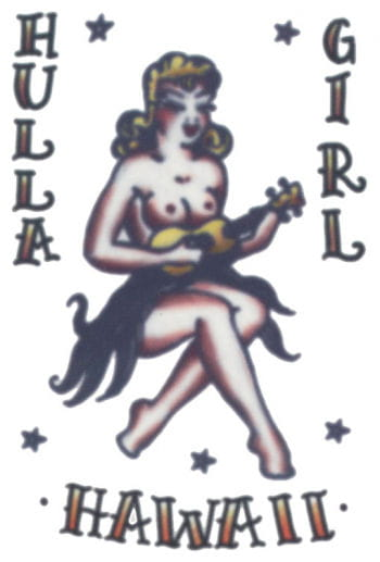 Hawaii Girl Stickers Tattoo