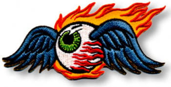 Patches Flaming Eyeball Gross