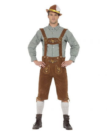 Bavarian Leather Trousers Costume With Plaid Shirt