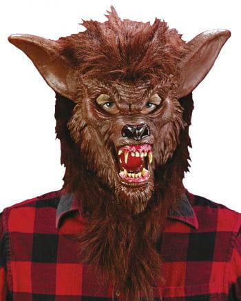 Werwolfmaske Braun mit realistischen Zähnen