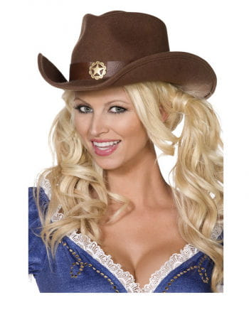 Brown cowboy hat made of felt