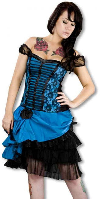 Lace taffeta skirt turquoise