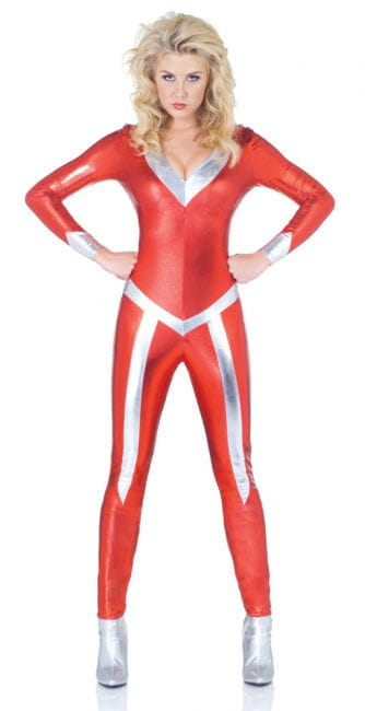 Glittering Space catsuit red