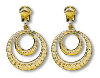 Golden Dangling Clip On Earrings