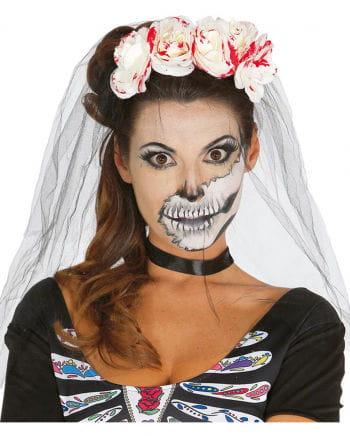 Día de los Muertos headband with bloody roses
