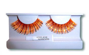 Real Hair Eyelashes Orange Gold Black
