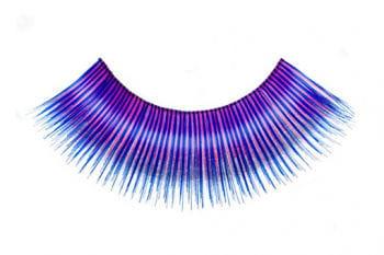 Echthaar-Wimpern pink/blau