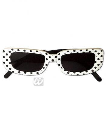 Square Disco Glasses White with Dots