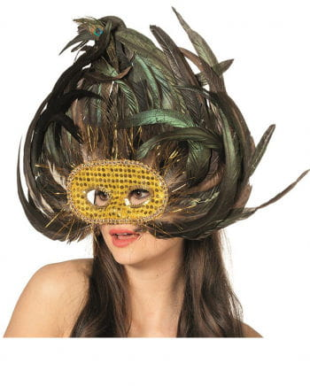 Exotic eye mask with peacock feathers