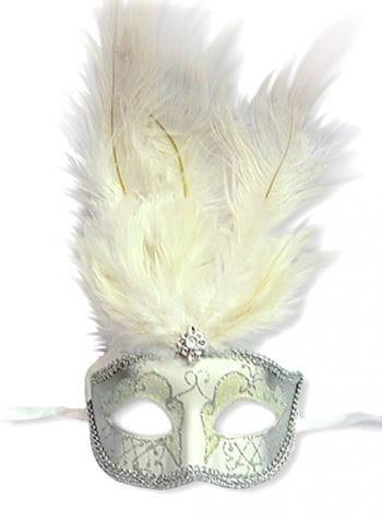 Feder Maske Venezianisch weiß/silber