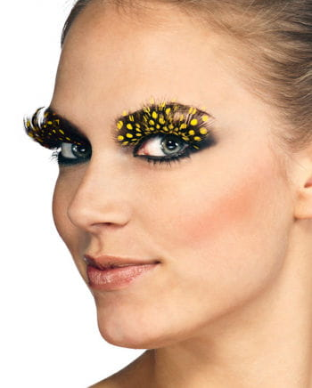 Feather eyelashes Yellow polka dots