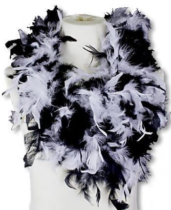 Feather Boa White Black Deluxe