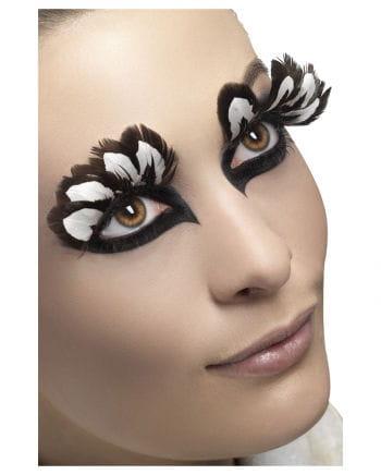 Feather eyelashes white brown