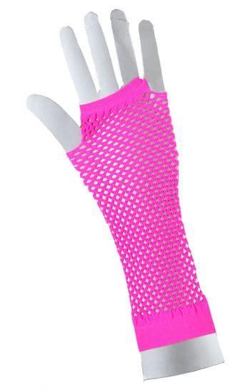Fingerless fishnet gloves neon pink