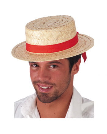 Florentine Boater with Red Hatband