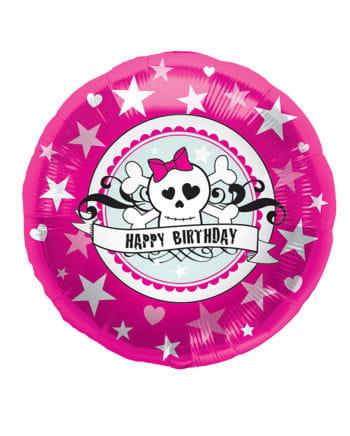 Foil balloon Happy Birthday Pink Skully
