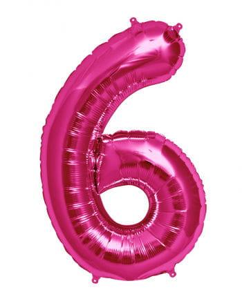 Folienballon Zahl 6 Pink