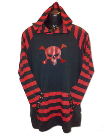 Striped sweater with skull