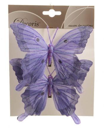 Glitter Butterflies Set of 2 14 cm purple