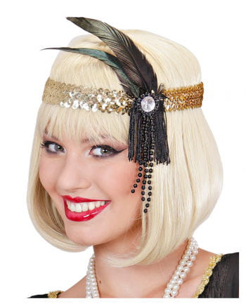 Flapper Headband Gold with black feather