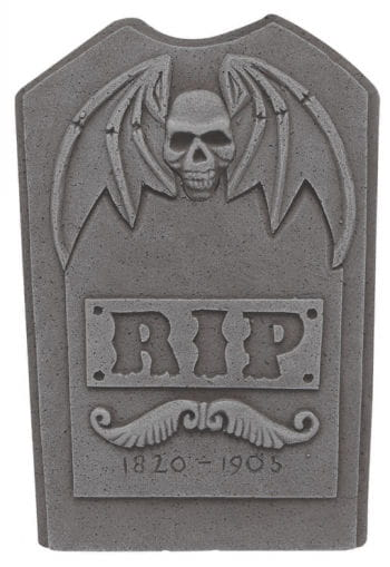 Grave stone with skull and bat wings