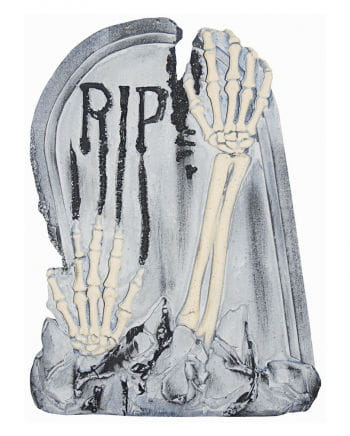 Grave stone with skeletal arms