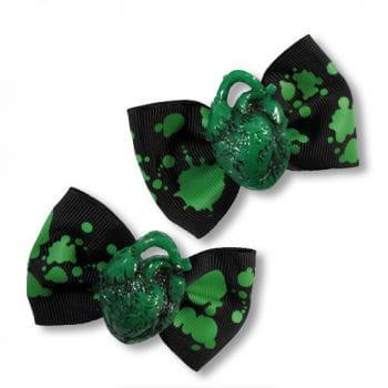 Horror Barrette Green Heart