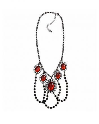 Necklace with black pearls and precious stones