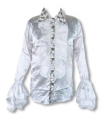 Satin shirt with ruffles white