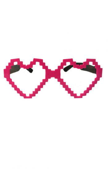 Herz Brille Pixel rosa