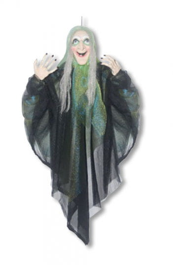 Witches hanging figure with green cloak