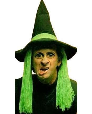 Hexenhut mit grünen Haaren