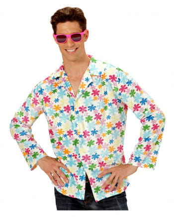 Hippie shirt white with colorful flowers